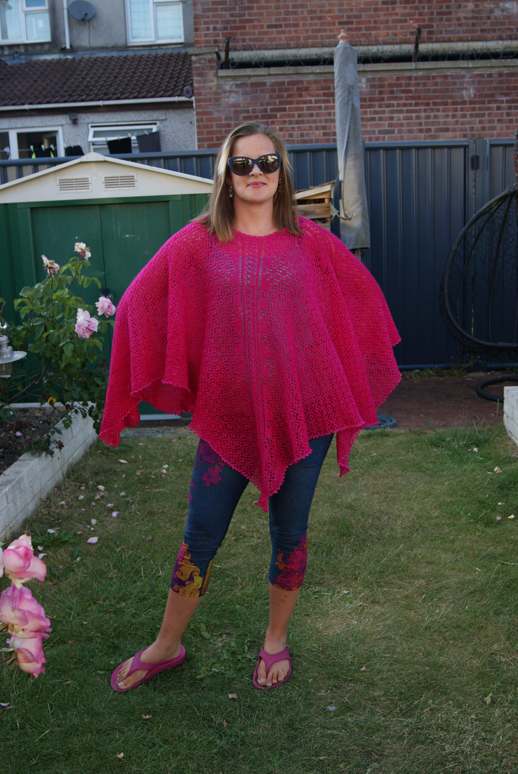 Floral lace poncho