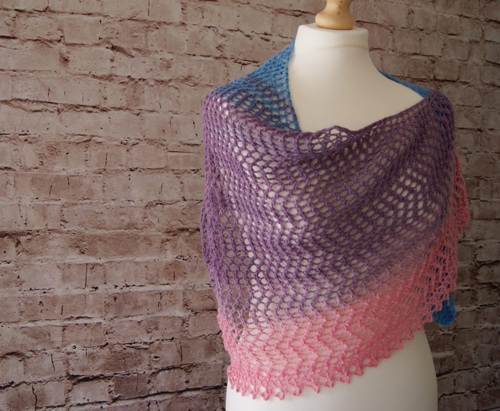 Bimini shawl draped around mannequin - angled side view