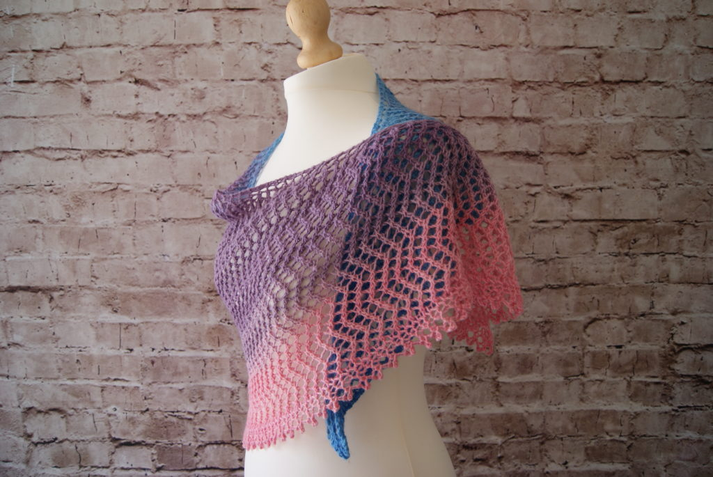 Bimini shawl draped around mannequin - side view